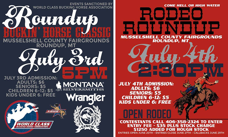 Roundup Buckin Horse Classic and Roundup Rodeo July 2017 Posters