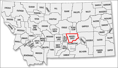 Musselshell County Map in Montana